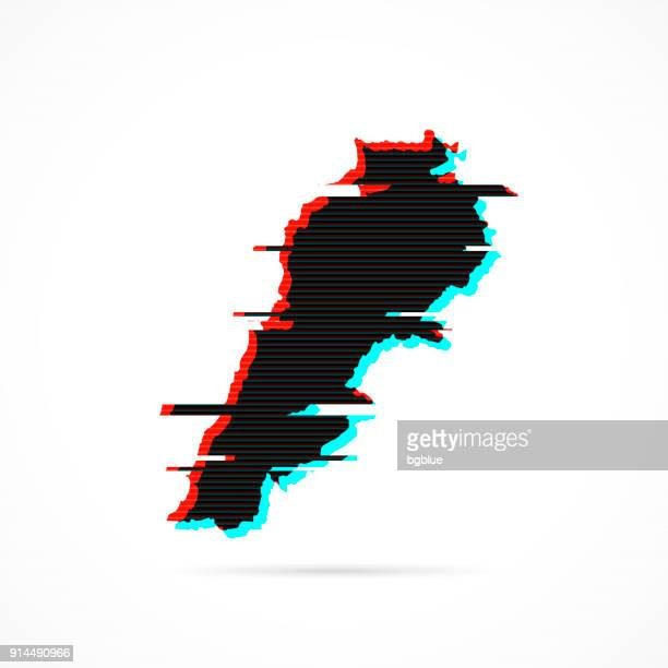 lebanon map in distorted glitch style. modern trendy effect - lebanon country stock illustrations, clip art, cartoons, & icons