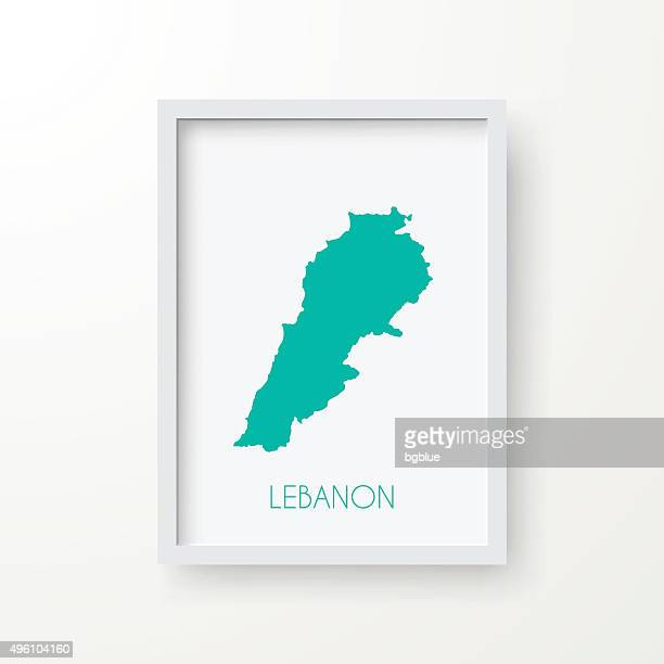 lebanon map in frame on white background - lebanon country stock illustrations, clip art, cartoons, & icons