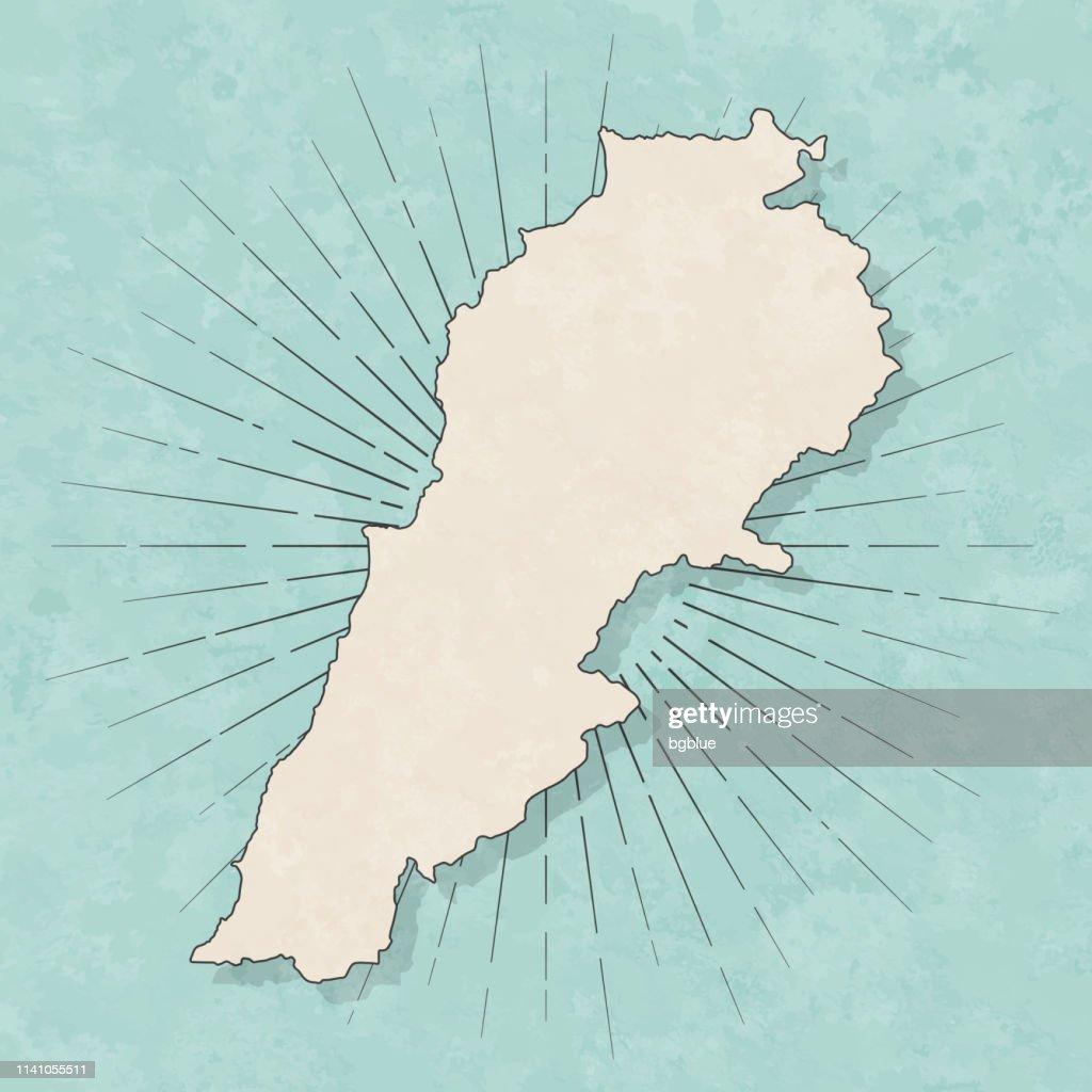 レバノンの地図レトロヴィンテージスタイル-古いテクスチャー紙 : ストックイラストレーション