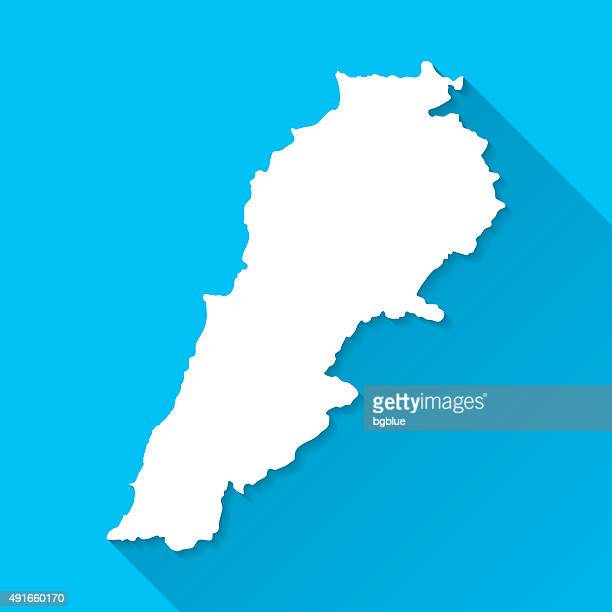lebanon map on blue background, long shadow, flat design - lebanon country stock illustrations, clip art, cartoons, & icons