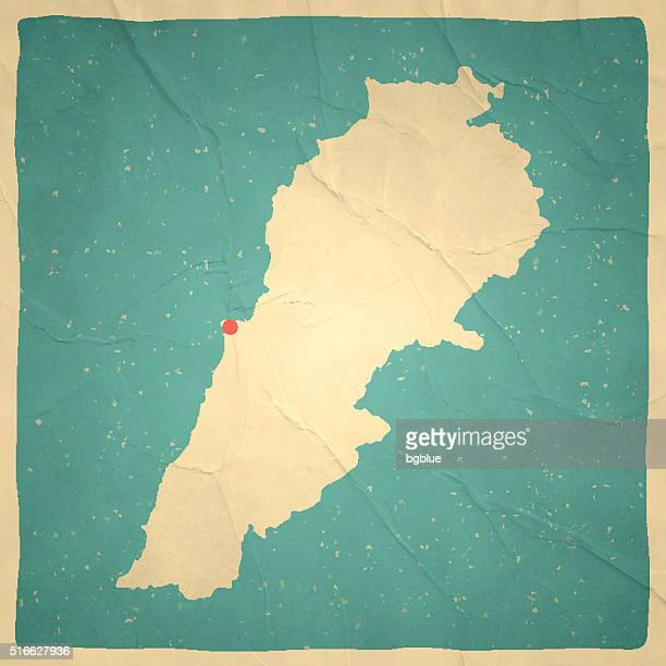 lebanon map on old paper - vintage texture - lebanon country stock illustrations, clip art, cartoons, & icons