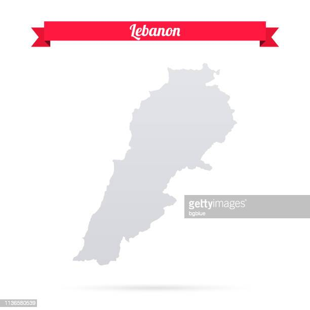 lebanon map on white background with red banner - lebanon country stock illustrations