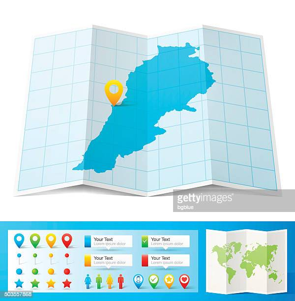 lebanon map with location pins isolated on white background - lebanon country stock illustrations, clip art, cartoons, & icons