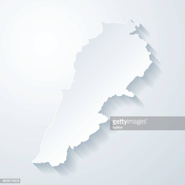 lebanon map with paper cut effect on blank background - lebanon country stock illustrations, clip art, cartoons, & icons
