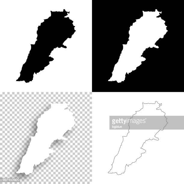 lebanon maps for design - blank, white and black backgrounds - lebanon country stock illustrations, clip art, cartoons, & icons
