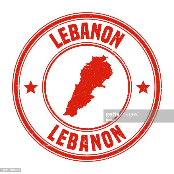 lebanon - red grunge rubber stamp with name and map - lebanon country stock illustrations, clip art, cartoons, & icons