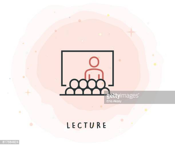 lecture icon with watercolor patch - press conference stock illustrations, clip art, cartoons, & icons