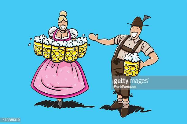lederhosen man welcomes oktoberfest beer waitress - lager stock illustrations, clip art, cartoons, & icons