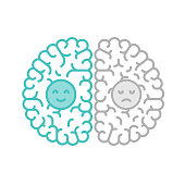 Left and Right Brain, Happy and Sad concept outline stroke flat design with Smile and Sad face symbol illustration isolated on white background with copy space, vector eps 10