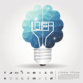 left and right brain light bulb polygon with business icon