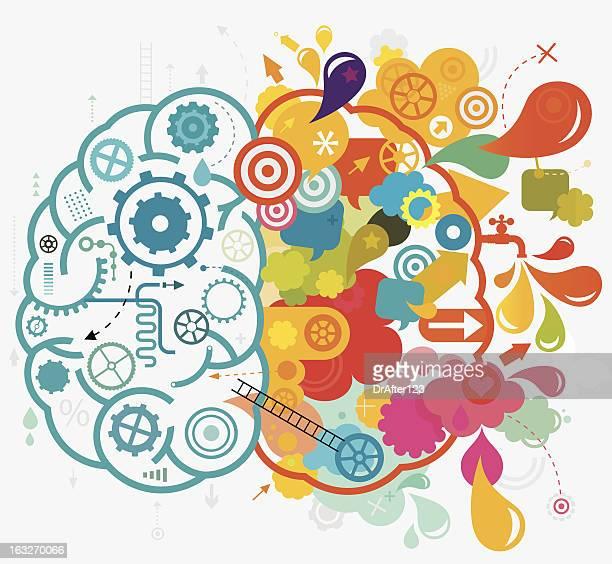 left and right brain - sensory perception stock illustrations