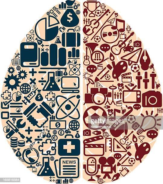 left and right brain - cerebral hemisphere stock illustrations, clip art, cartoons, & icons
