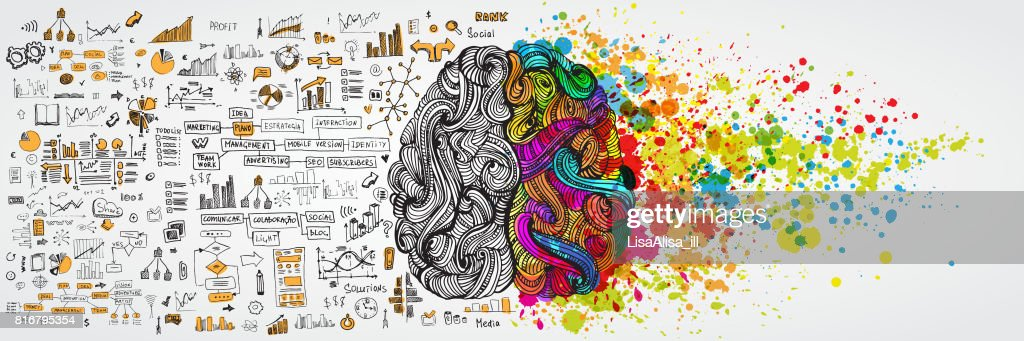 Left and right human brain with social infographic on logical side. Creative half and logic half of human mind. Vector illustration aboud social communication and business work