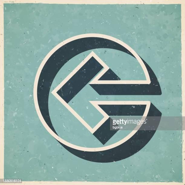 pfeil nach links. ikone im retro-vintage-stil - altes strukturiertes papier - former stock-grafiken, -clipart, -cartoons und -symbole