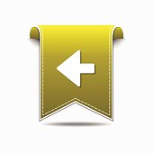 Left Arrow Yellow Vector Icon Design
