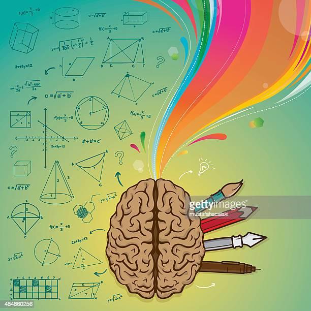 left brain right brain - cerebral hemisphere stock illustrations, clip art, cartoons, & icons