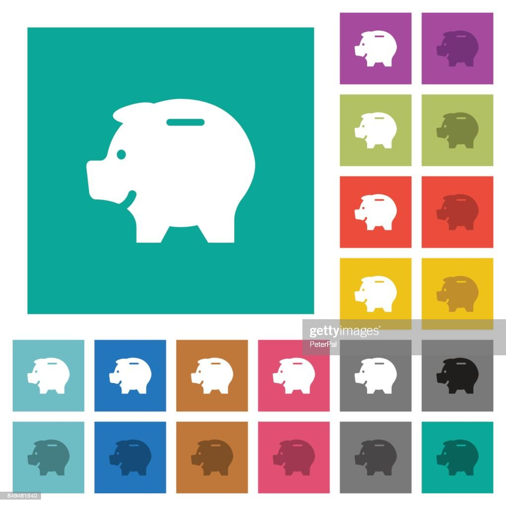 Left facing piggy bank square flat multi colored icons
