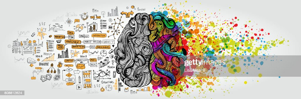 Concept de gauche cerveau droit humain. Partie créative et logique avec doodle social et commercial : Illustration
