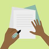 Left-handed signature on paper concept illustration