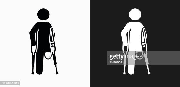 Leg Amputee Icon on Black and White Vector Backgrounds