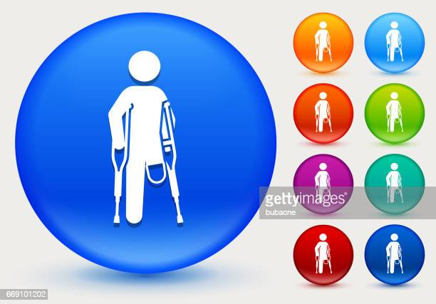 Leg Amputee Icon on Shiny Color Circle Buttons