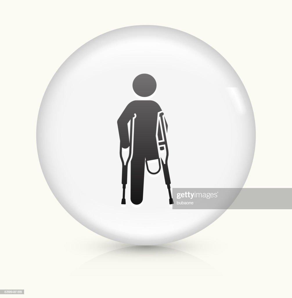 Pierna amputado icono sobre un botón de vectores redondo y blanco : Ilustración de stock