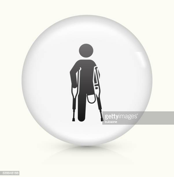 Leg Amputee icon on white round vector button