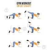 Leg lifts. Tri-set. Sport exercises.