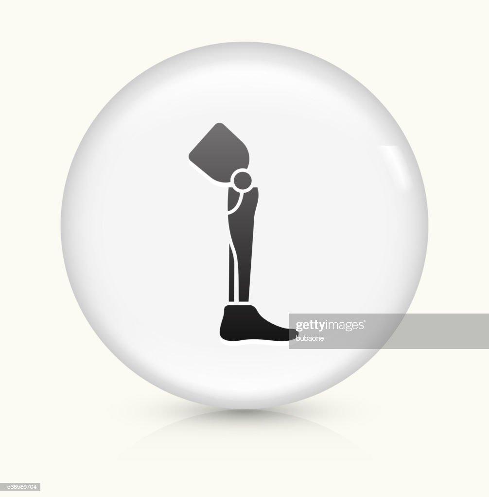 Pierna trasplante icono sobre un botón de vectores redondo y blanco : Ilustración de stock