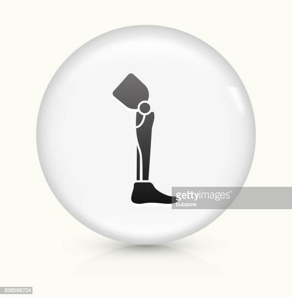 Pierna trasplante icono sobre un botón de vectores redondo y blanco