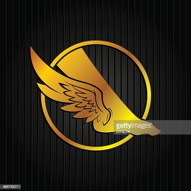leg with wings emblem - roman god stock illustrations