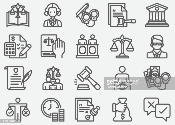 legal and notary services line icons - immigration law stock illustrations
