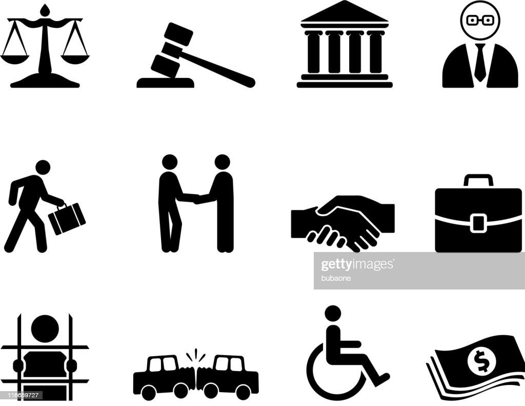 legal black and white royalty free vector icon set