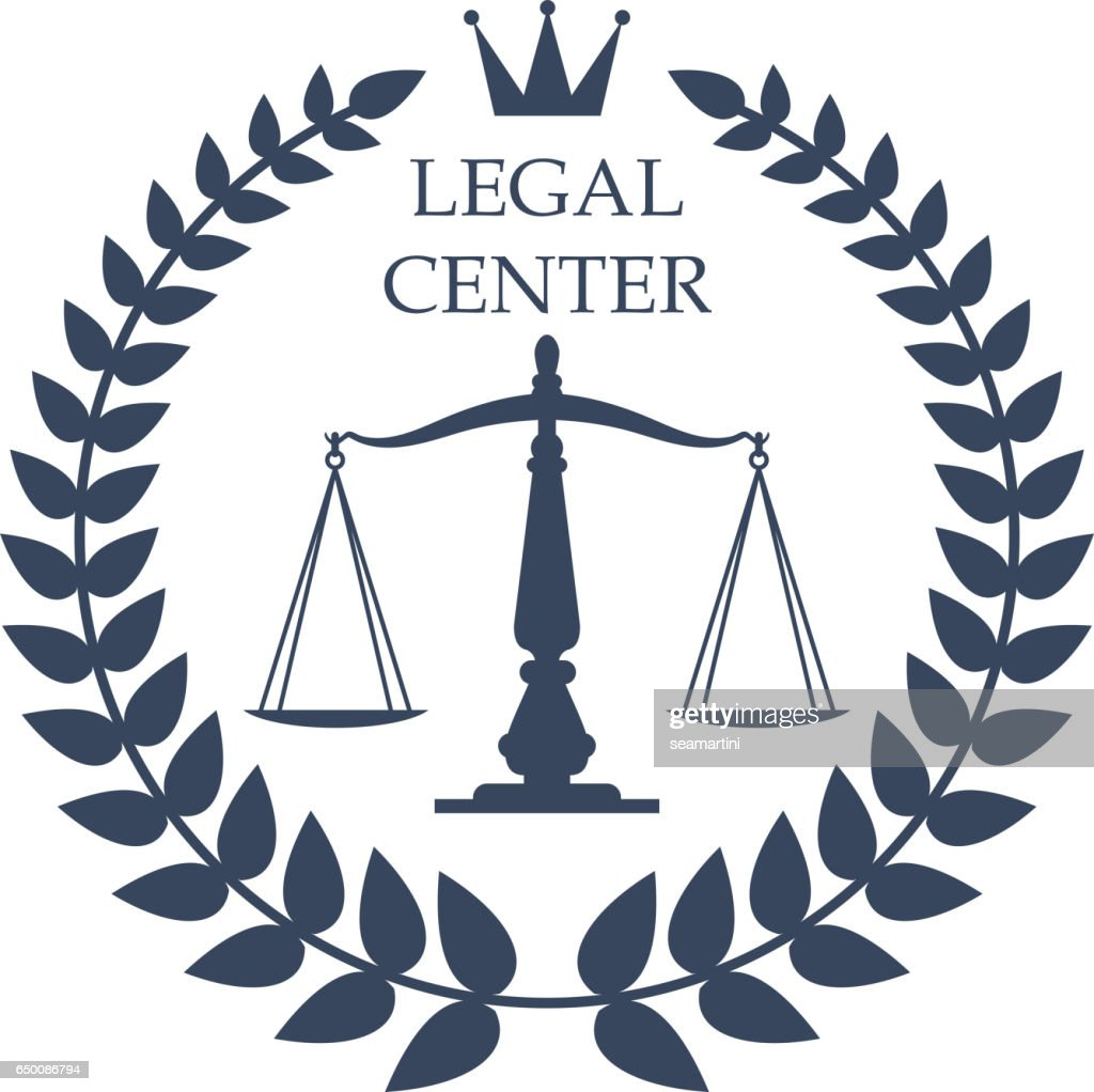 Legal center vector justice scales, laurel icon