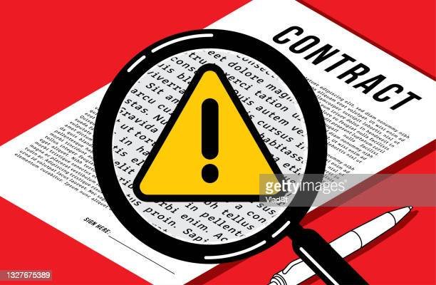 legal contract fine print scam fraud warning job employment concept illustration - scammer stock illustrations