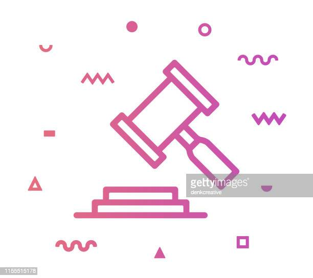 legal decision line style icon design - mallet hand tool stock illustrations