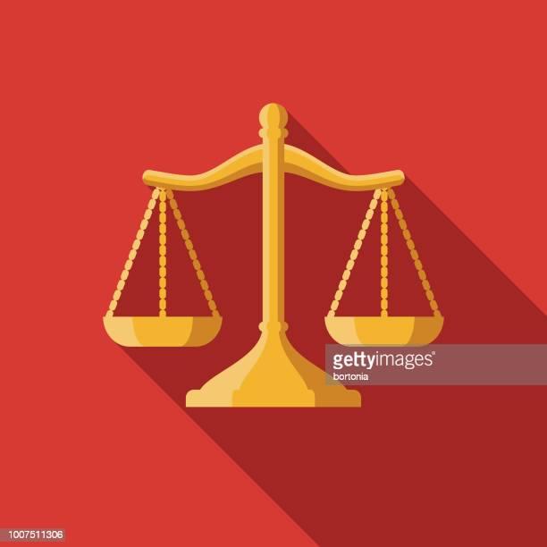 ilustraciones, imágenes clip art, dibujos animados e iconos de stock de diseño plano legal seguro icono - balanzas de la justicia