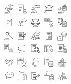 Legal icons, linear, monotone.
