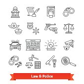 Legal, law, court and police icons thin line set