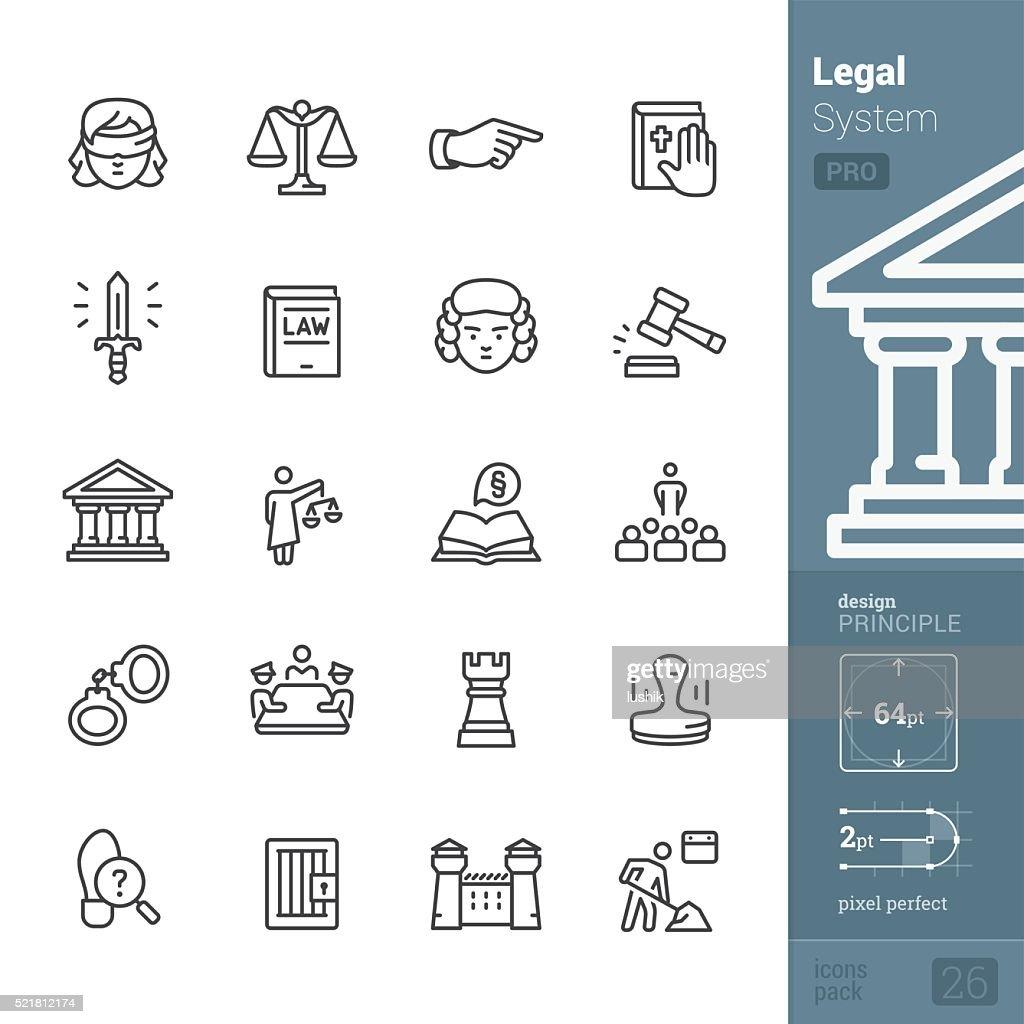 Recht und Gerechtigkeit zugehörige Vektor-icons-PRO Packung : Stock-Illustration