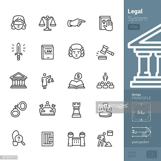 legal system and justice related vector icons - pro pack - courthouse stock illustrations, clip art, cartoons, & icons
