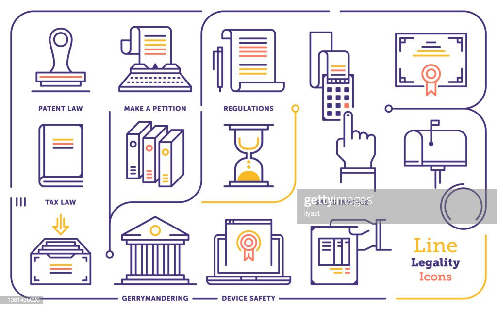 Legality & Legitimacy Line Icon Set : stock illustration