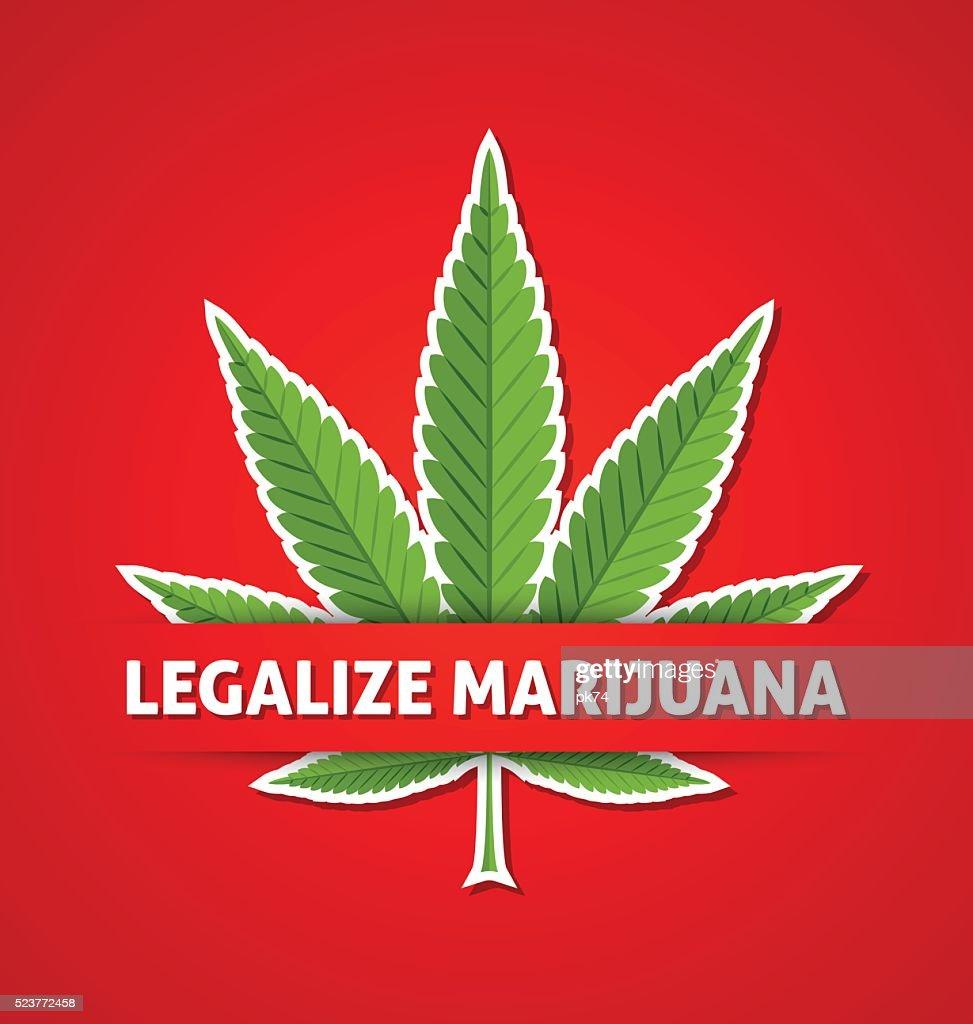Legalize marijuana hemp leaf on red background