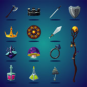 Legendary asset. Set of magic items and resource for computer fantasy game. Isolated cartoon icons set.
