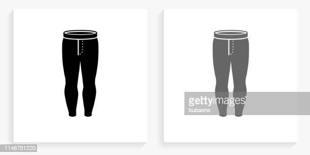 ilustrações, clipart, desenhos animados e ícones de ícone quadrado preto e branco das caneleiras - calça comprida