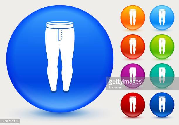 Leggings Icon on Shiny Color Circle Buttons