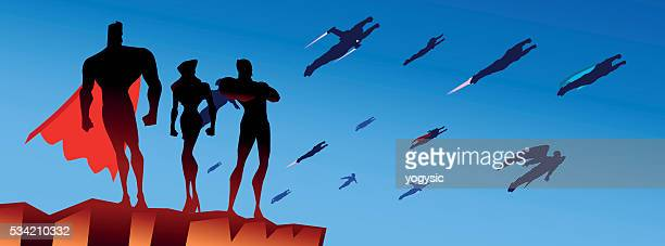legion of superheroes silhouette - army stock illustrations, clip art, cartoons, & icons