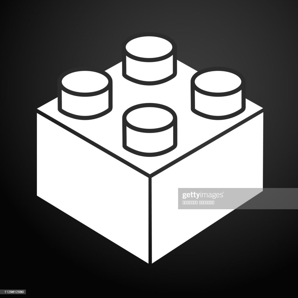 Lego brick block or piece line art vector icon for toy apps and websites