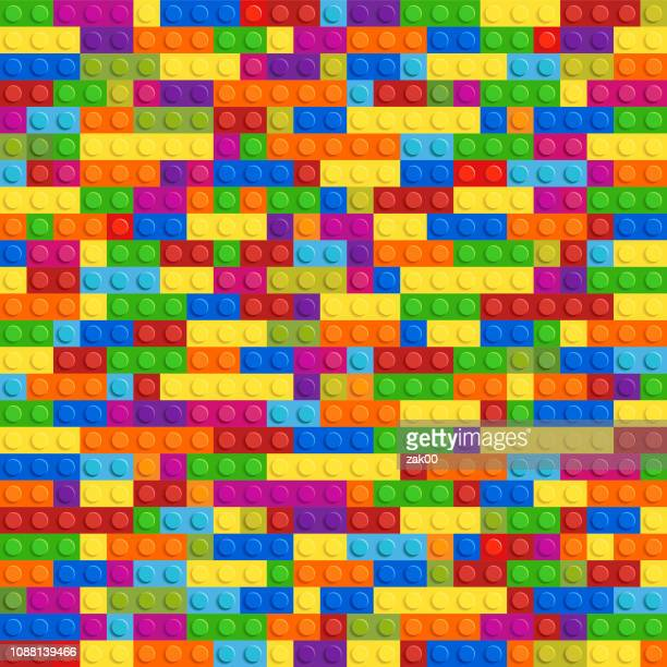 lego plastic toy vector seamless - brick stock illustrations