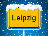 Leipzig German City Road Sign Winter Snow